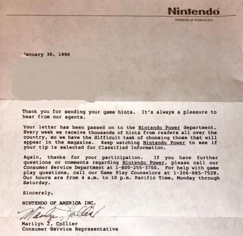 Letter from Nintendo Game Play Counselor Marilyn Collier